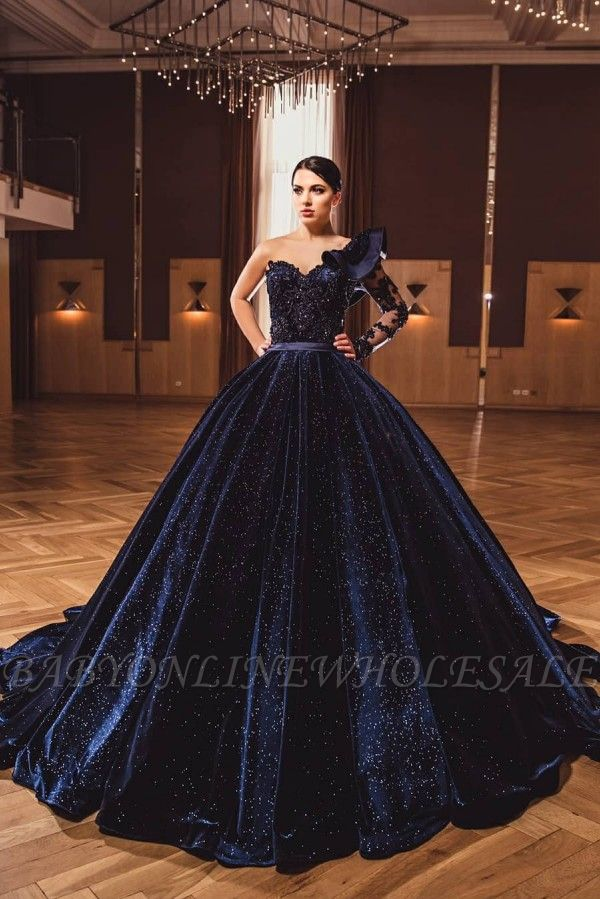 Gorgeous One Long Sleeves Dark Purple A-line Ball Gowns