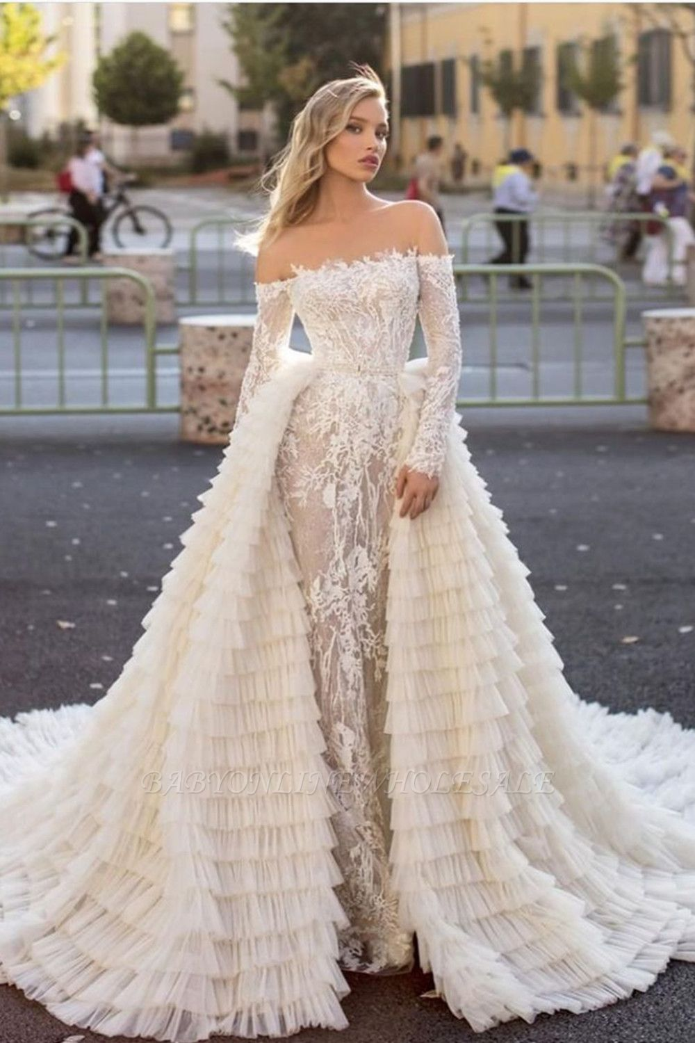 Off the Shoulder Wedding Gown Long Sleeve Floral Mermaid with Detachable Train