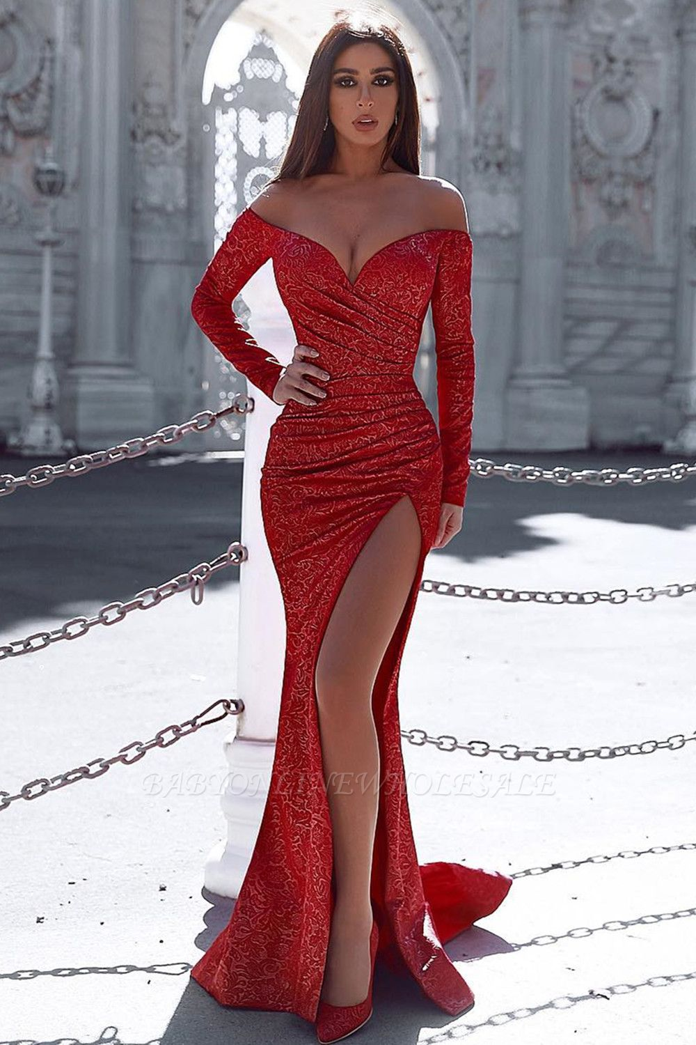 Burgundy Mermaid Evening Gown with Sleeves Splitfront Sexy Party Dress