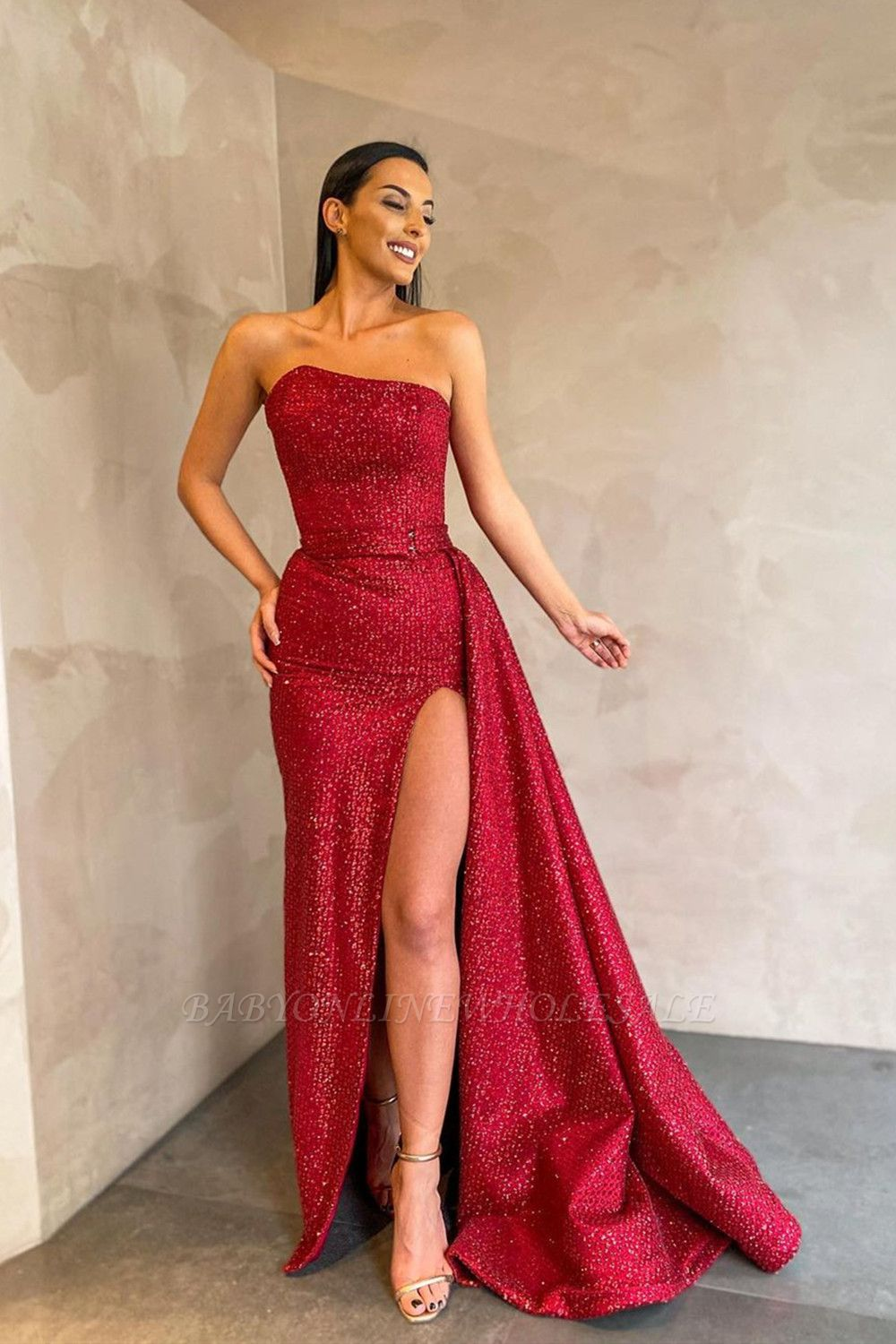 Strapless Evening Party Dress with Sweep Train