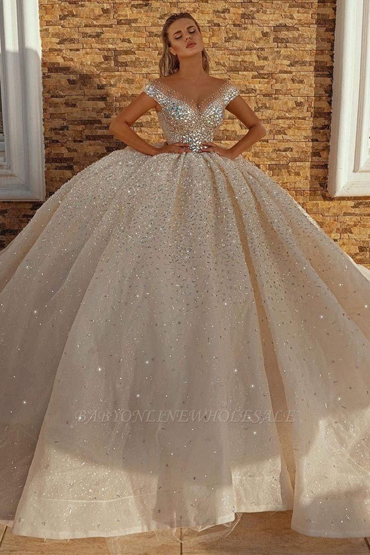 قبالة الكتف الكرة الأميرة الكريستال ثوب الترتر أثواب الزفاف