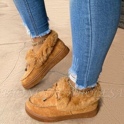 Модные теплые меховые ботинки на плоской подошве с круглым носком Daily Round Toe
