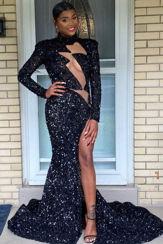 Sparkly Long Sleeve Pailletten Side Split Prom Kleid