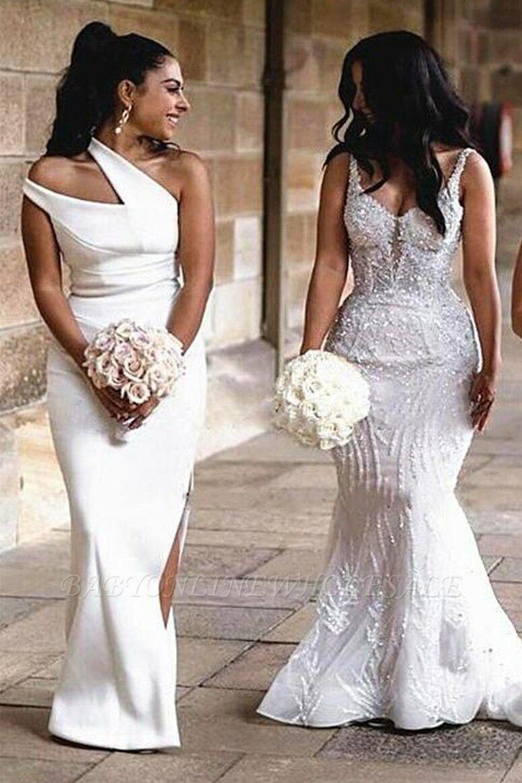 One-Shoulder-Slim-Brautjungfern-Kleid-Strech-Side-Split-Party-Kleid-Hochzeit-Gast-Kleid