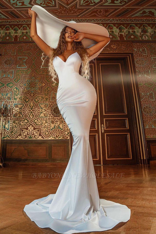 الساحرة حورية البحر فستان الزفاف الساتان الخامس الرقبة ضئيلة فستان الحفلات