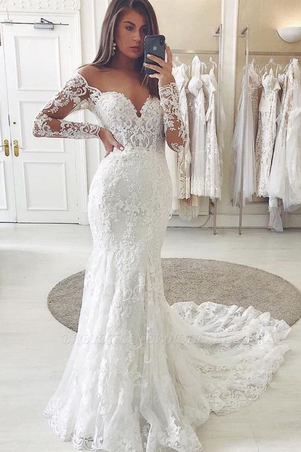 Charming Lace Appliques Mermaid Wedding Gown Long Sleeve Sweetheart Bridal Dress