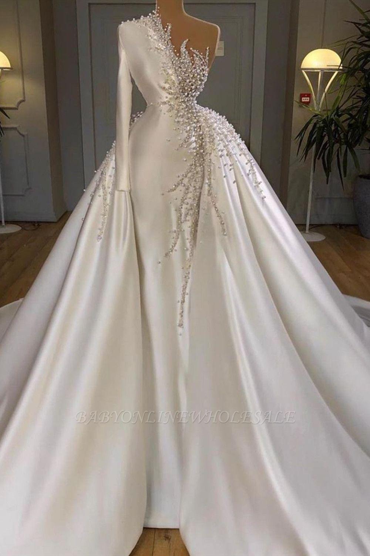 Очаровательные одно плечо атласные свадебные платья русалки жемчуг бисером вечерние платья