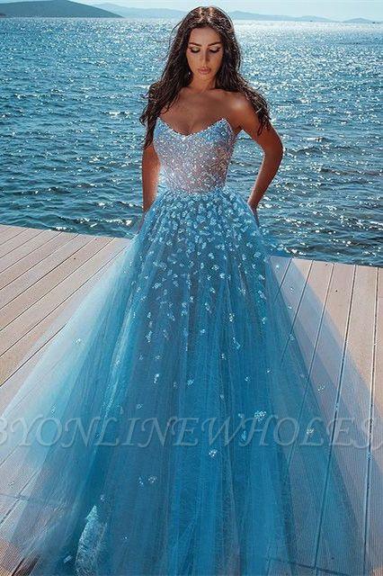 Elegant sky blue Butterfly Strapless Sweetheart Tulle Sparkle Prom Dress