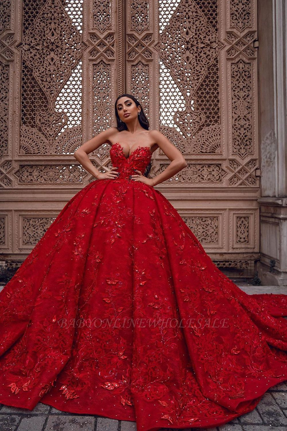 Luxurious Sweetheart ladies ball gowns evening dresses 3D-Floral Print Sweep Train