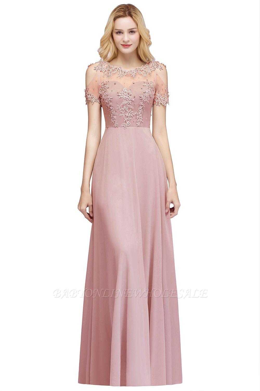 MAE | A-Linie Illusion Ausschnitt lange Applikationen Chiffon Prom Kleider