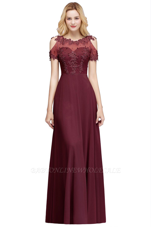 MAE   A-line Illusion Neckline Long Appliques Chiffon Prom Dresses