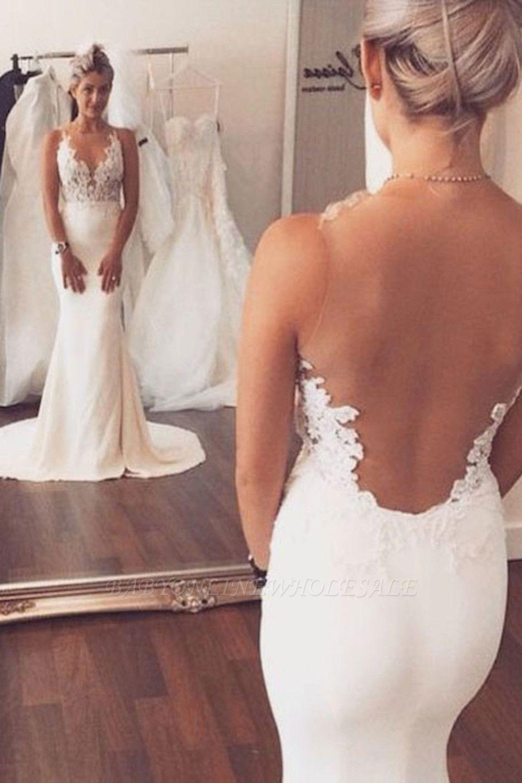 Отшельник назад Русалка свадебное платье без рукавов Кружева летом Пляж Свадебные платья BA3612