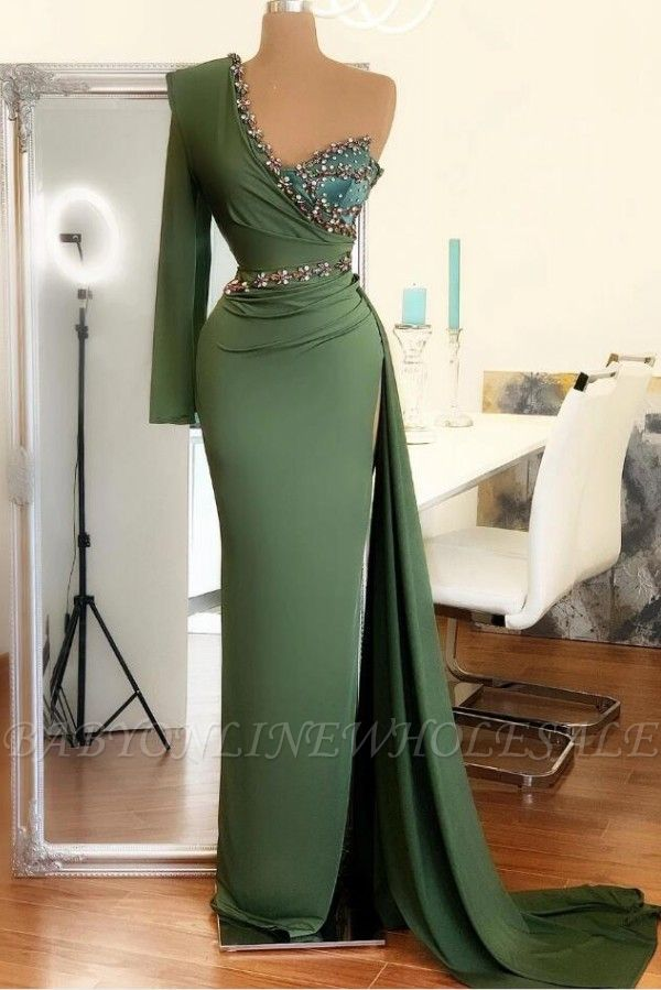 Стильное вечернее платье на одно плечо с русалкой Зеленое вечернее платье