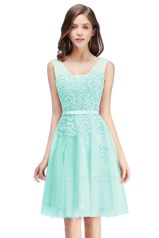 ADDILYNN | Платье выпускного вечера из тюля длиной до колена с аппликациями