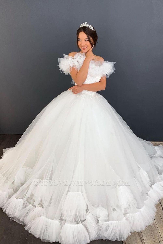 Weiß / Elfenbein aus der Schulter Puffy Tulle Lace Ballkleid Princess Bridal Gown