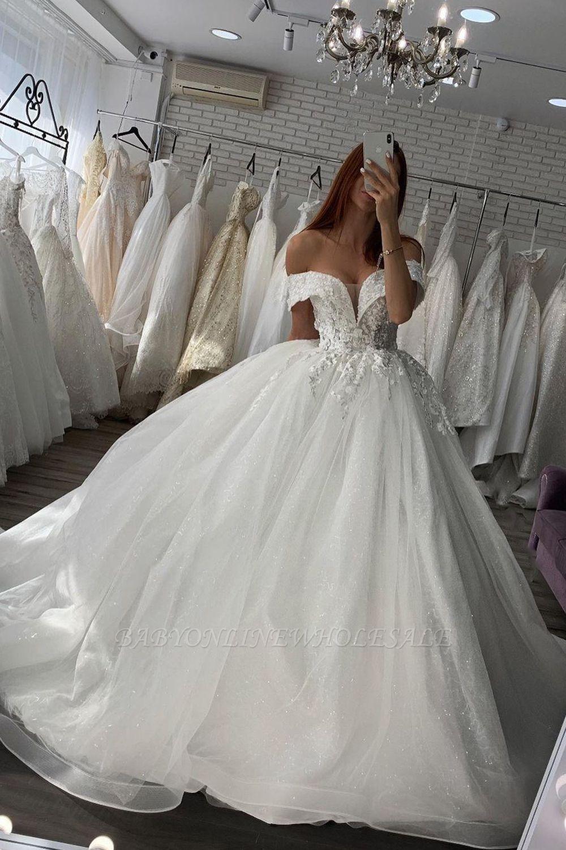 Wunderschönes schulterfreies Brautkleid aus weißem / elfenbeinfarbenem Blumenspitzen-Frühlingskleid