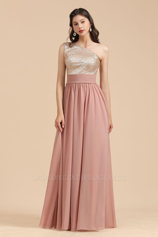 Стильное шифоновое вечернее платье на одно плечо с блестками и пайетками Aline