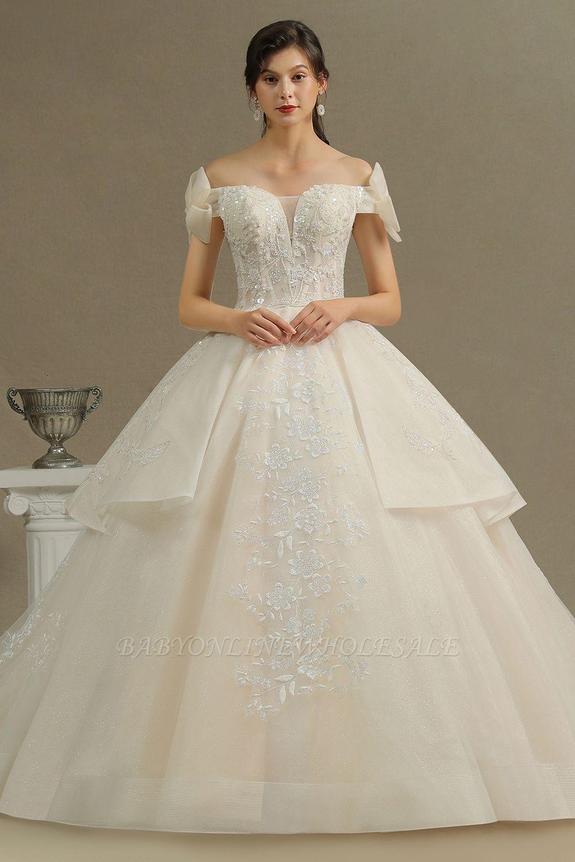 Elegantes schulterfreies Tüll-Spitzen-Ballkleid mit bodenlangem Graden-Brautkleid