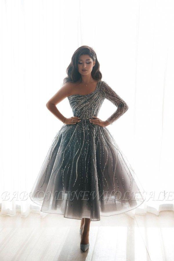 Stunning One Shoulder Sequins Beading Aline Short Party Dress