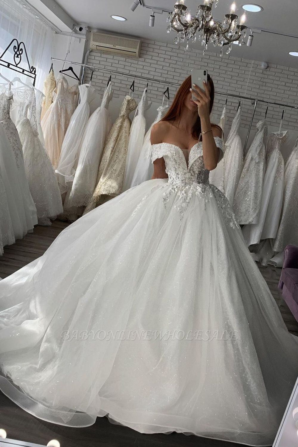 Gorgeous Off Shoulder White/Ivory Floral Lace Bridal Gown Spring Ball Gown