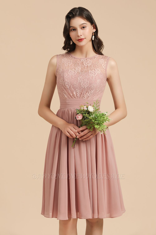 Элегантное кружевное платье для встречи выпускников без рукавов с круглым вырезом, короткое коктейльное платье
