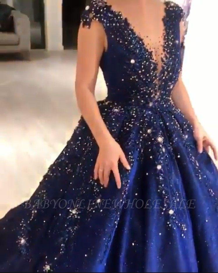 Luxury Dark Navy Deep V-neck Cap sleeves Ball Gown Sparkle Beaded Prom Dresses