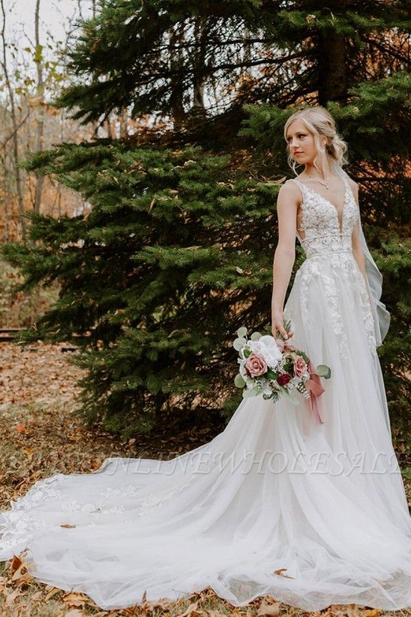 Sleeveless Simple Wedding Dress Lace Tulle Long Dress for Bride