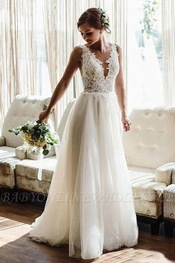 White/Ivory V-Neck Lace Tulle Bridal Dress Aline Beach Wedding Dress