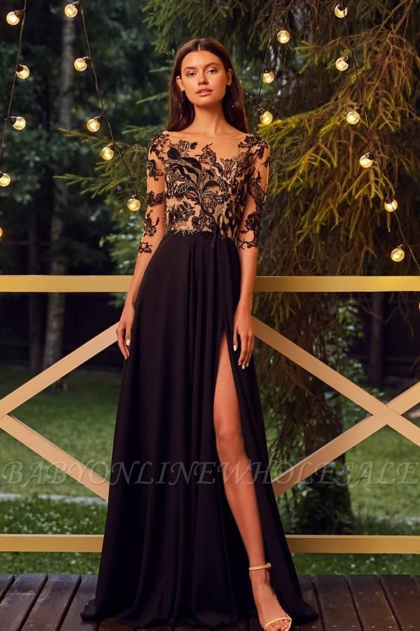 Chic  Half Sleeve Floral Chiffon Long Evening Maxi Dress with Side Split