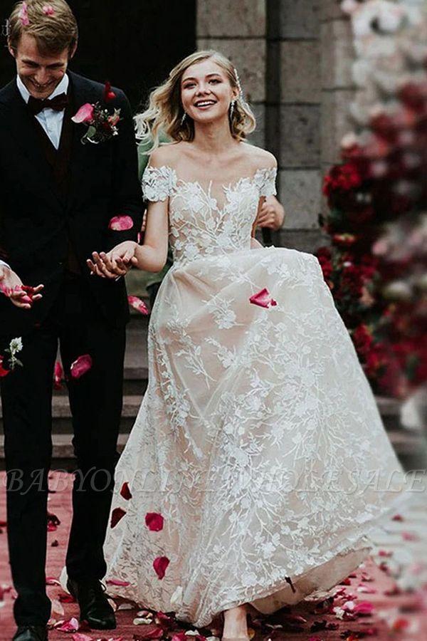 Charmante robe de mariée en dentelle florale à épaules dénudées princesse robe de mariée blanche Aline