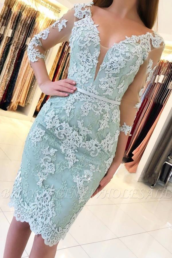 Элегантное тонкое короткое вечернее платье с рукавами 3/4 и кружевом