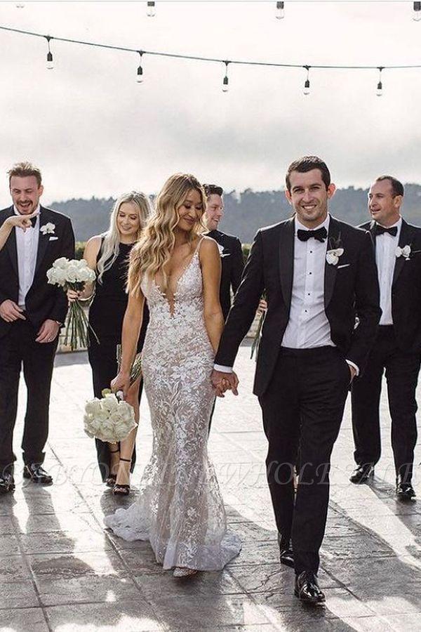 Elegante Spaghettiträger mit V-Ausschnitt, Meerjungfrau-Brautkleid, Blumen-Spitzenkleid für die Braut