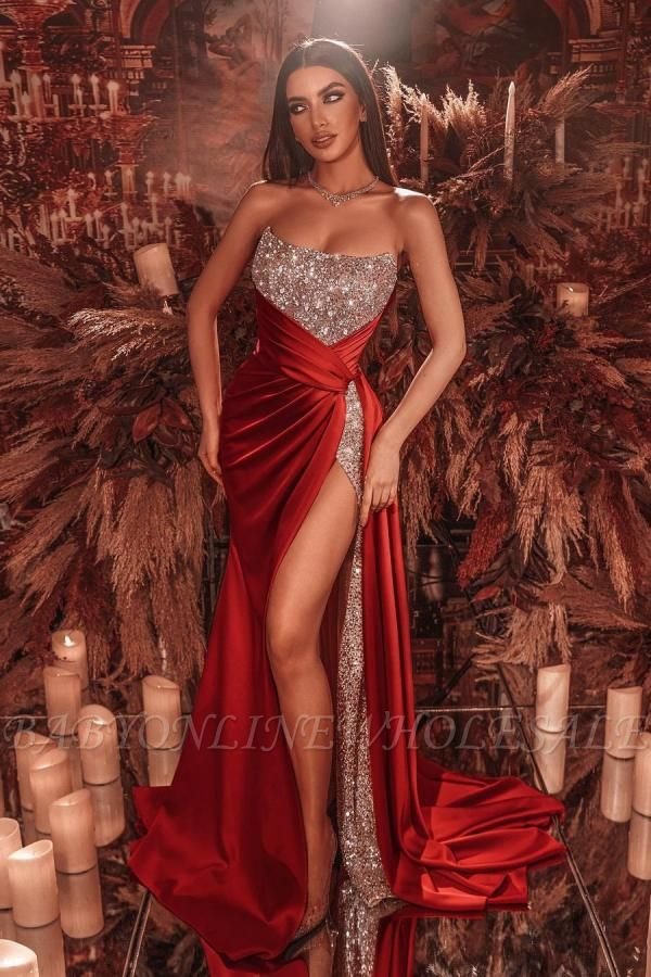 Sexy Strapless Glitter Sequins Cristals Evening Gown with Side Slit