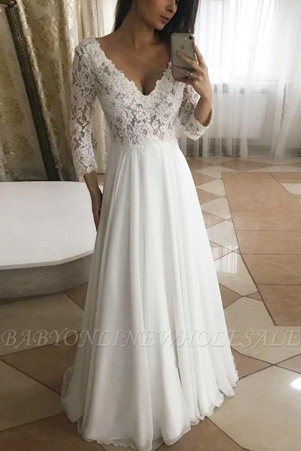 Élégante robe de mariée en dentelle à col en V à manches longues robe de mariée de jardin