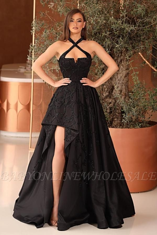Vestido de fiesta sin espalda vestido de noche Hi-Lo negro con cuello halter sexy