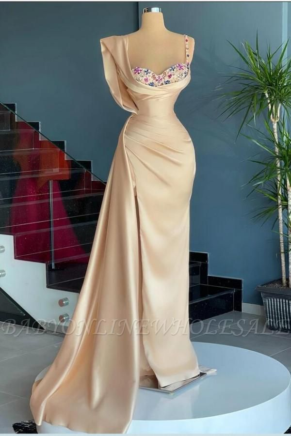Stunning U-Neck Ruffle Satin Mermaid Prom Gown with Side Cape