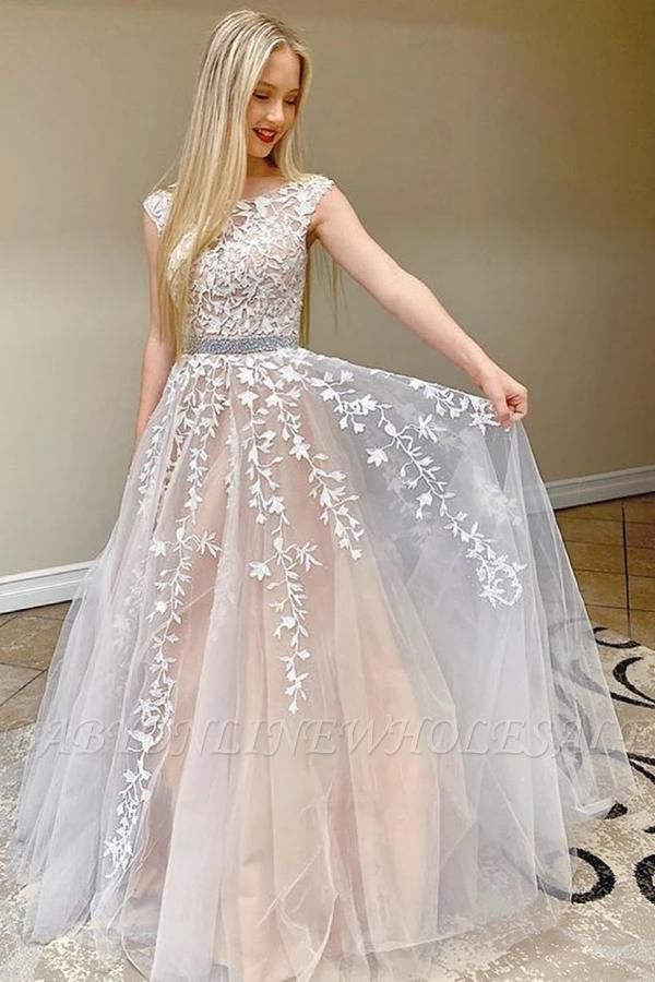 Cap Sleeves Floral Lace Aline Tulle Formal Dress