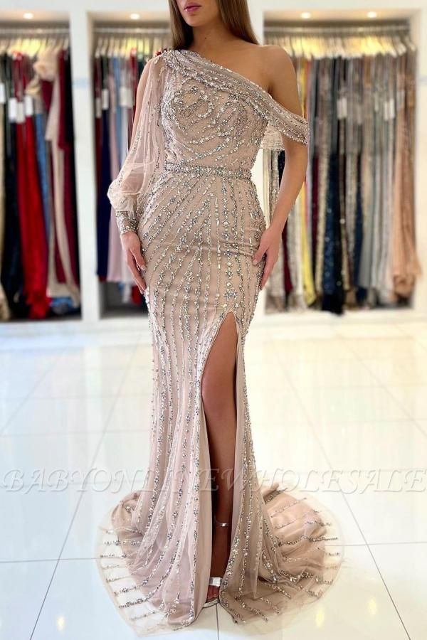 Stunning One Shoulder Shinning Beadings Mermaid Evening Gown with Side Slit