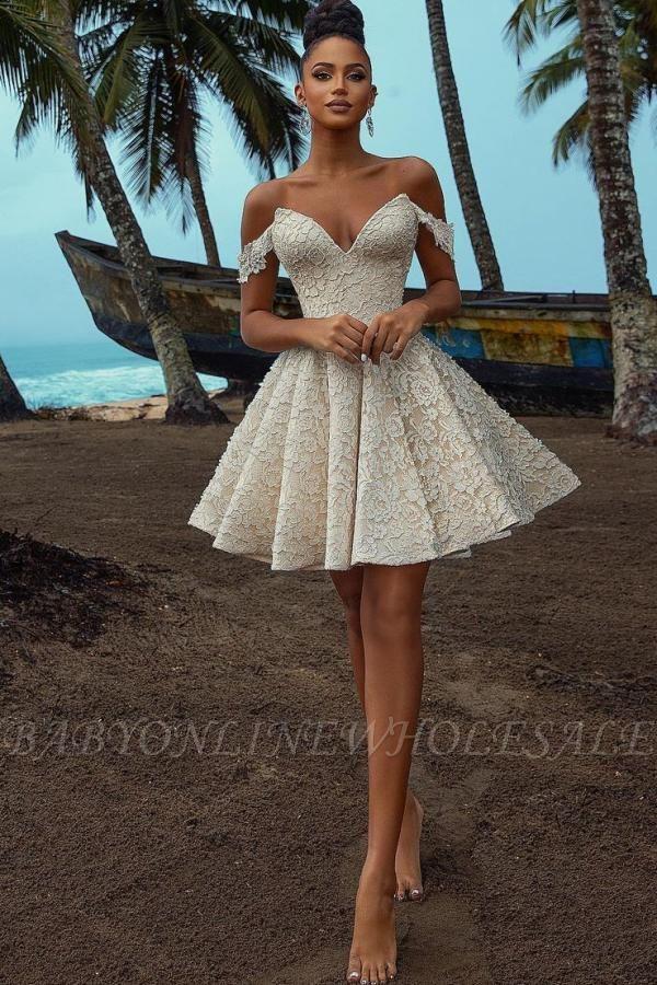 Chic Off Shoulder Floral Pattern  V-Neck Homecoming Dress