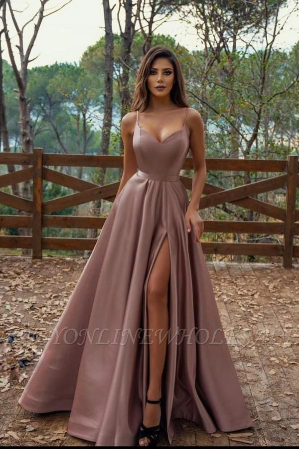 Elegant Spaghetti Straps Sweetheart Satin Maxi Prom Dress with Side Slit
