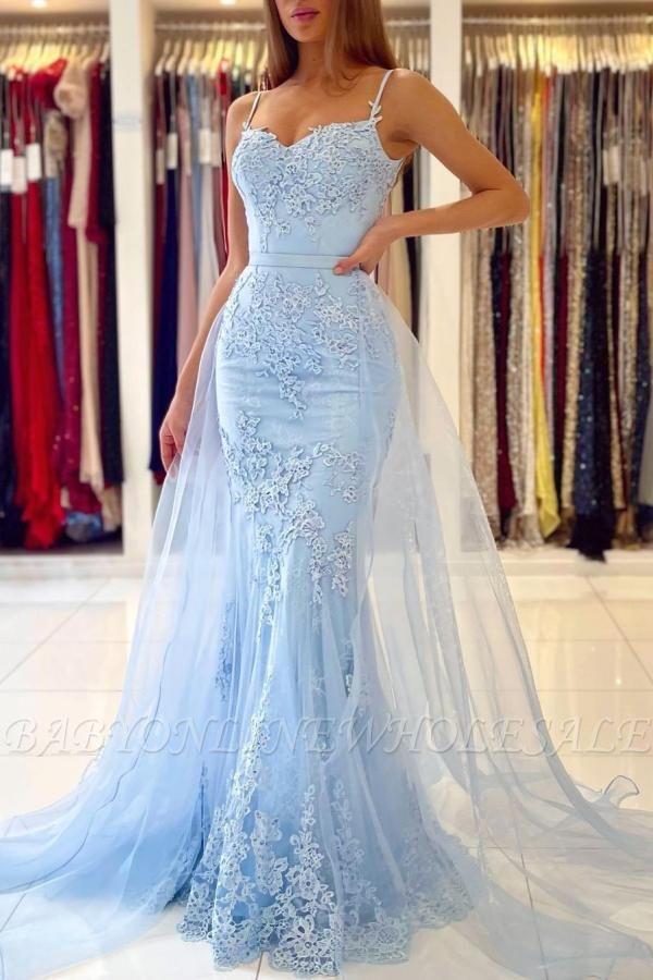 Charming Sky Blue Mermaid Maxi Evenign Dress with Floral Lace Appliques Detachable Train