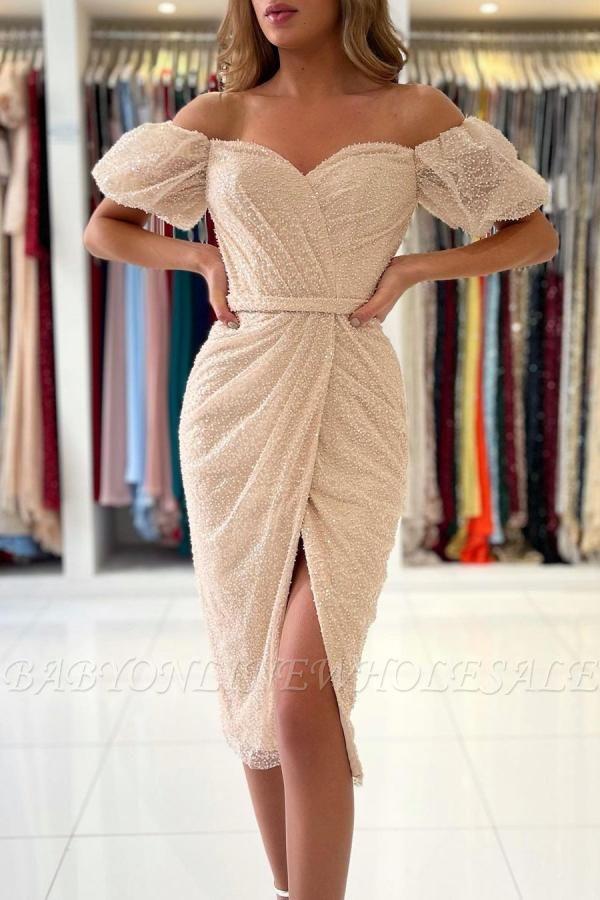 Stylish Off Shoulder Bubble Sleeves Short Mermaid Party Dress
