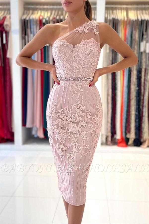 Stylish One Shoulder Floral Lace Slim Formal Party Dress