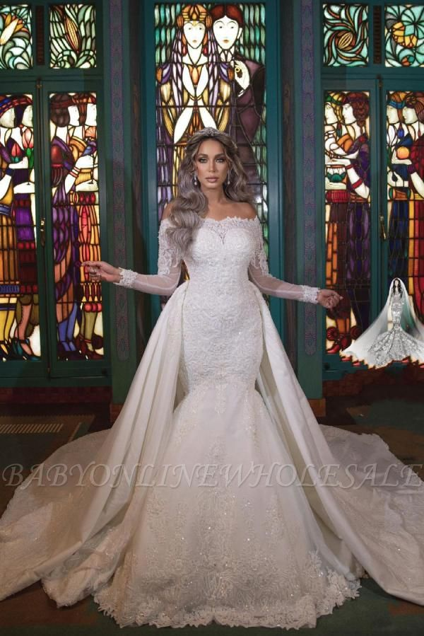 Gorgeous Off Shoulder Long Sleeves mermaid Bridal Gown with Detachable Train
