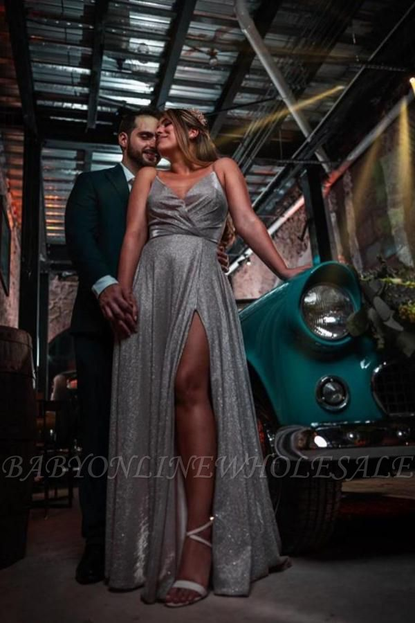 Sexy Spaghetti Straps Sequins Side Slit Evening Maxi Dress
