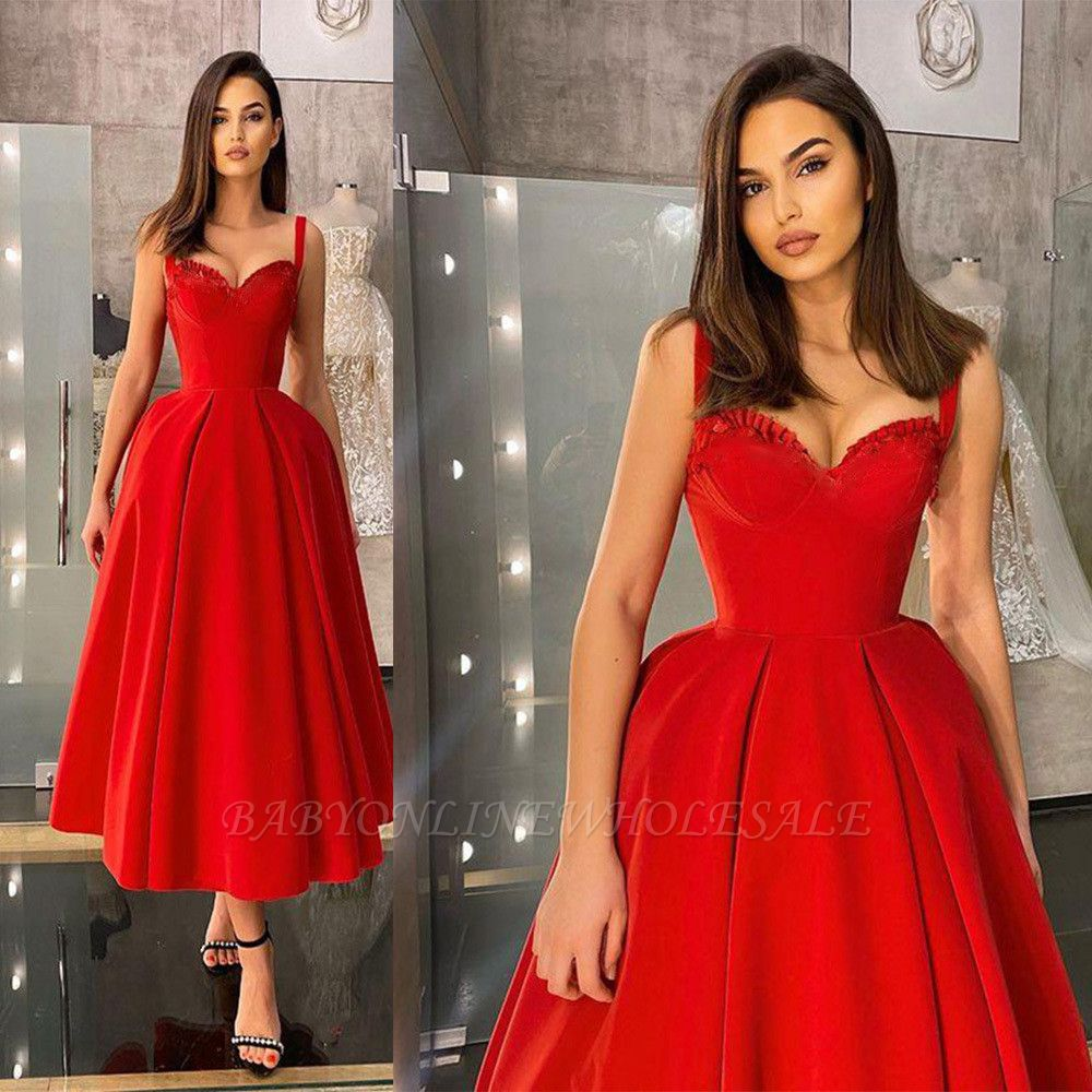 Charming Sleveless Red Homecoming Dress Sweetheart Evening Party Dress