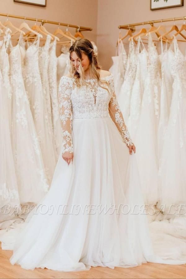 Charming White Floral Lace Tulle Plus Size Bridal Dress with Long Sleeves