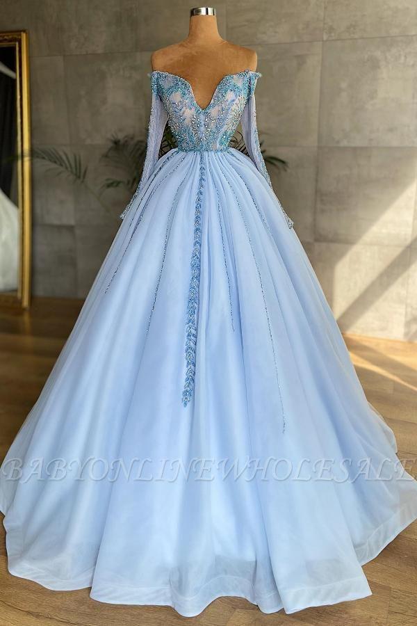 Великолепное платье принцессы с длинными рукавами в форме сердца, небесно-голубое, с бусинами, цветочными кружевными аппликациями