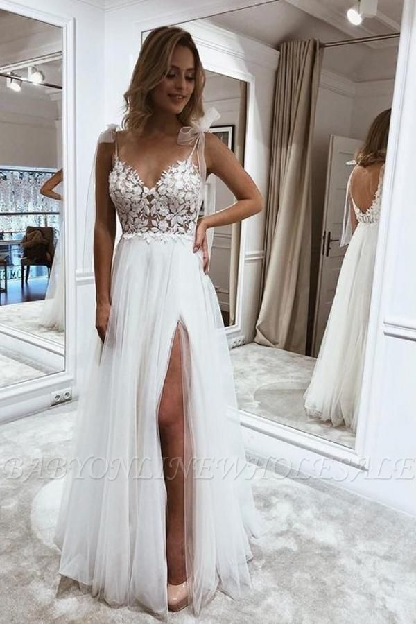 Chic Sleeveless 3D Floral Chiffon Wedding Dress with Side Split