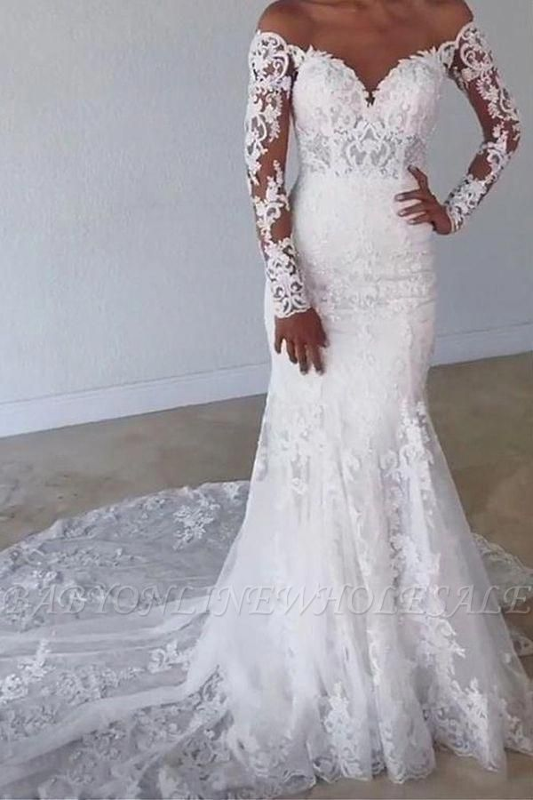 Elegant Off Shoulder White Lace Mermaid Wedding Gown with Floral Appliques